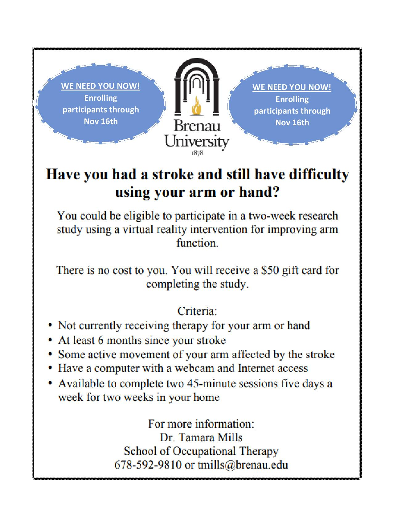 Invitation to participate: two-week research study using a virtual reality intervention for improving arm function.
