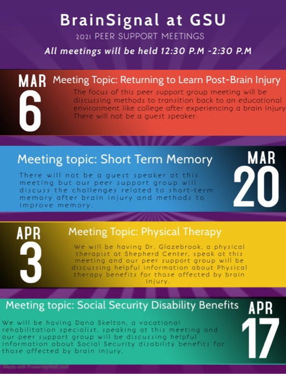 BrainSignal At GSU March and April Peer Support Meeting Dates